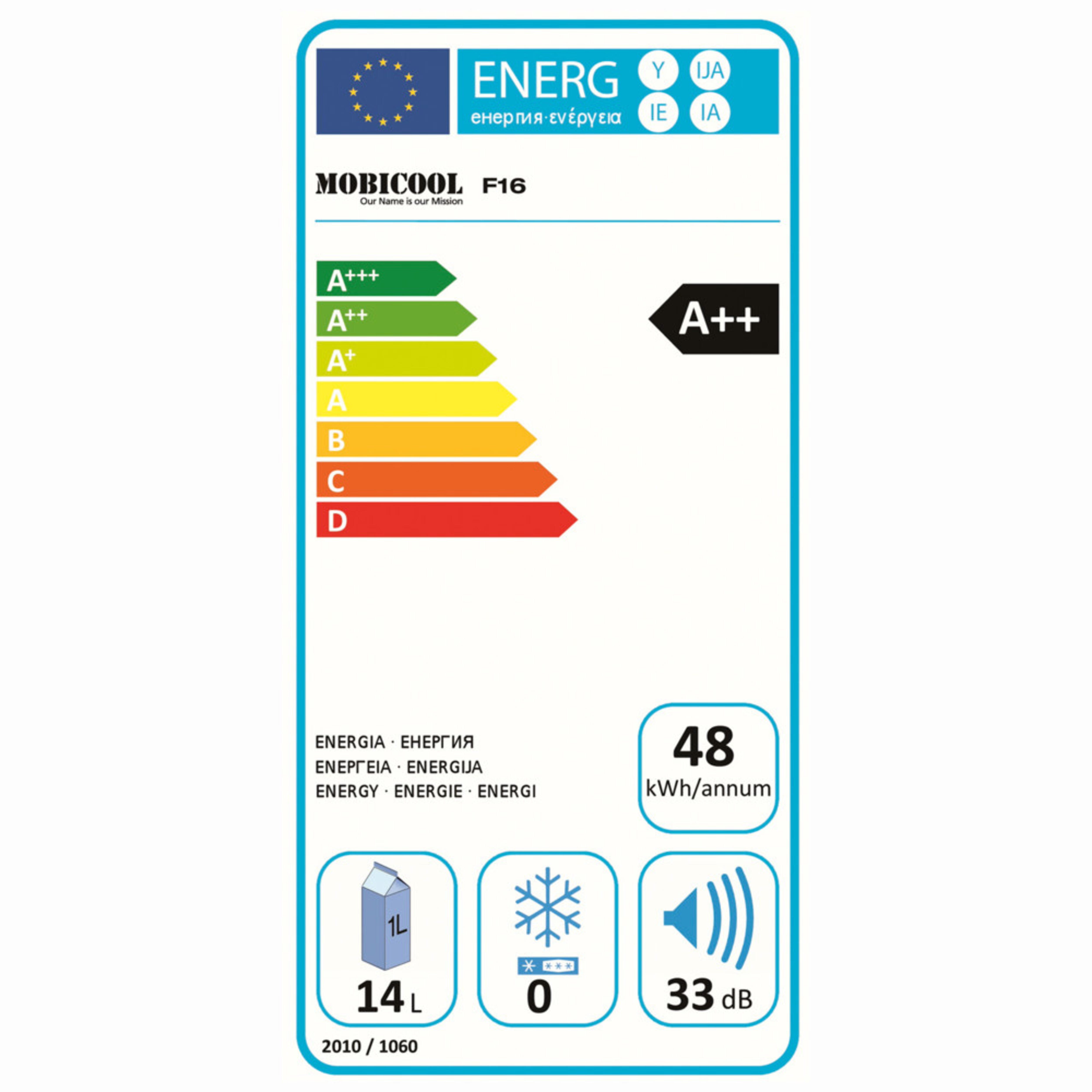 Mobicool F16 Energy label
