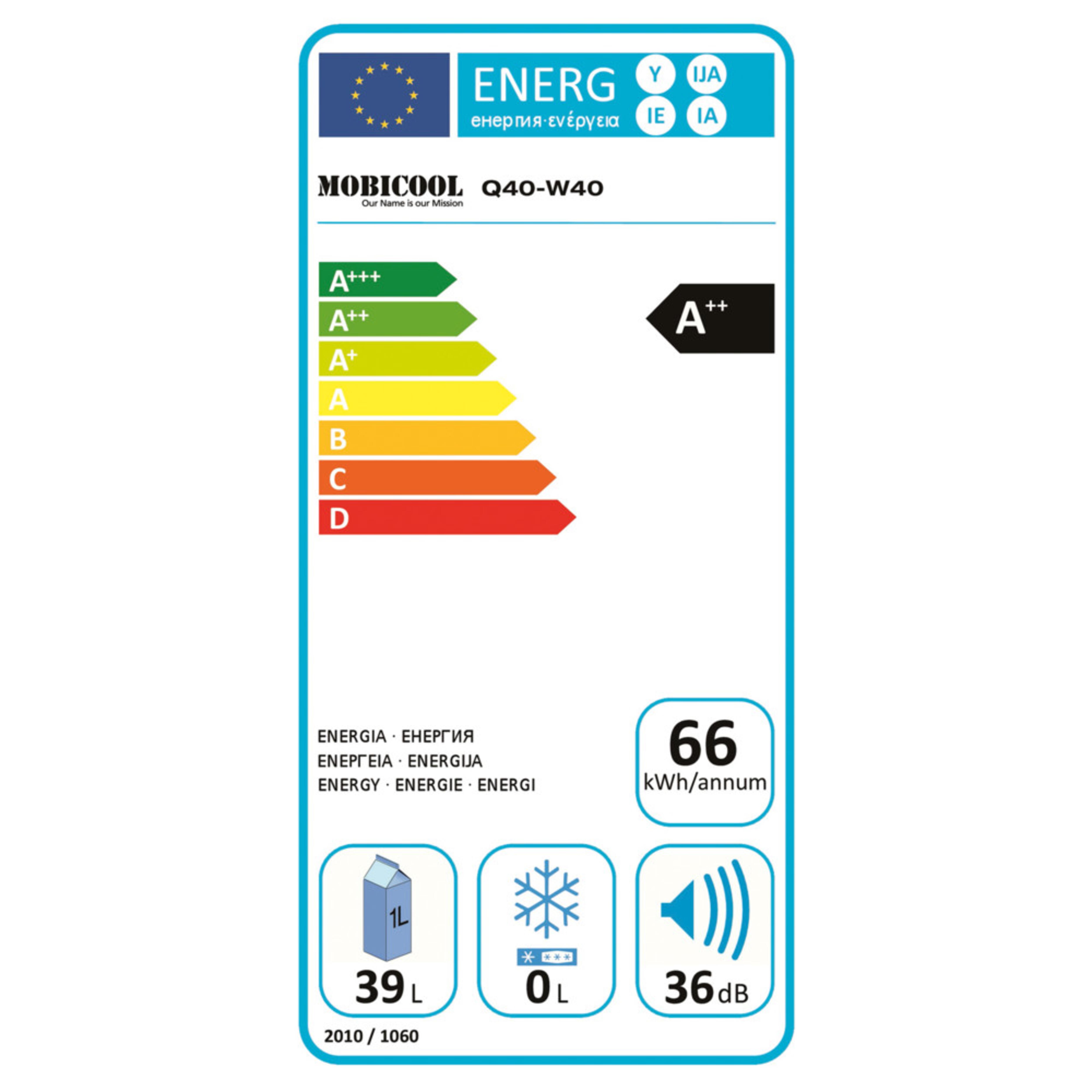 Mobicool W40 Energy label