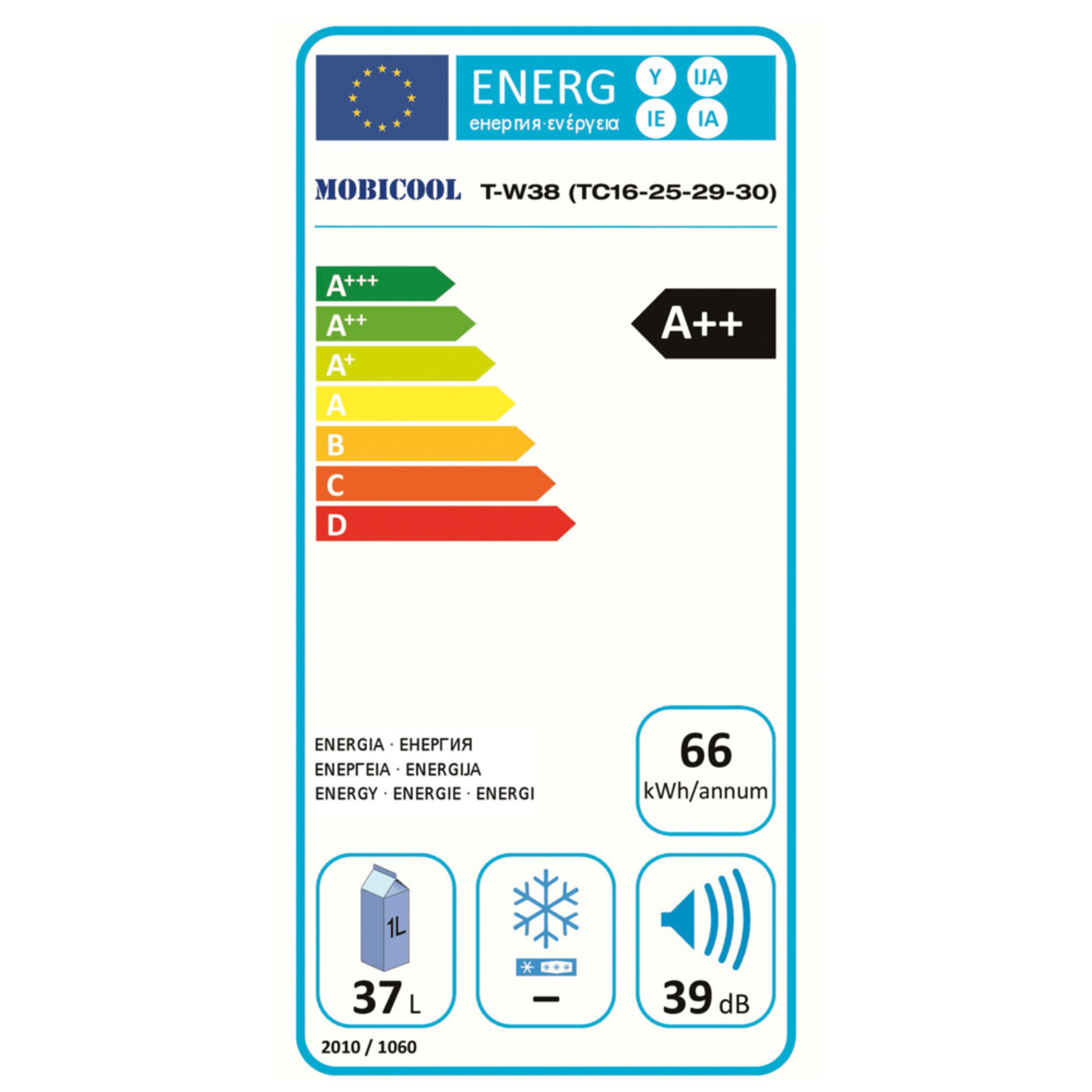 Mobicool W38 AC/DC Energy label