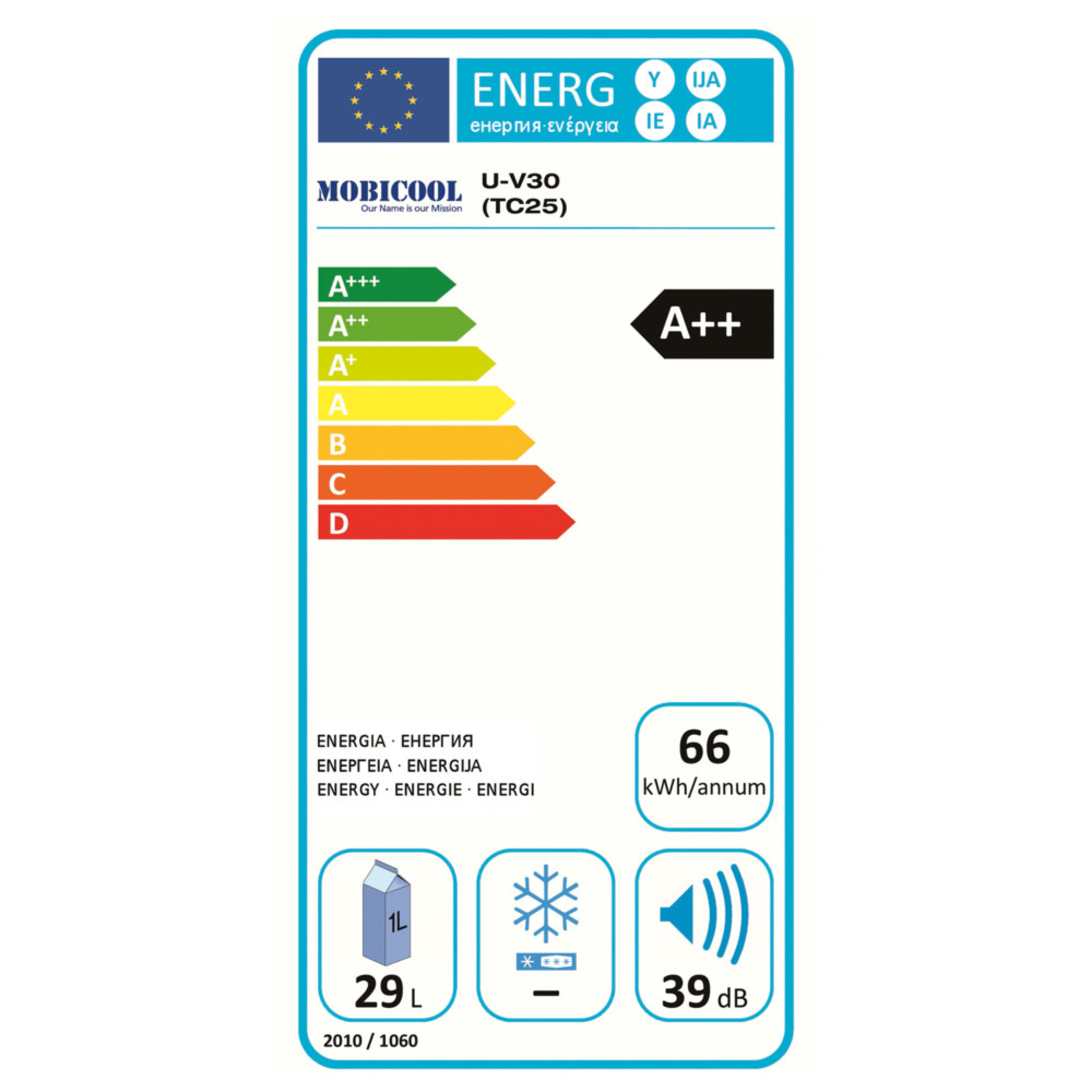 Mobicool V30 AC/DC Energy label