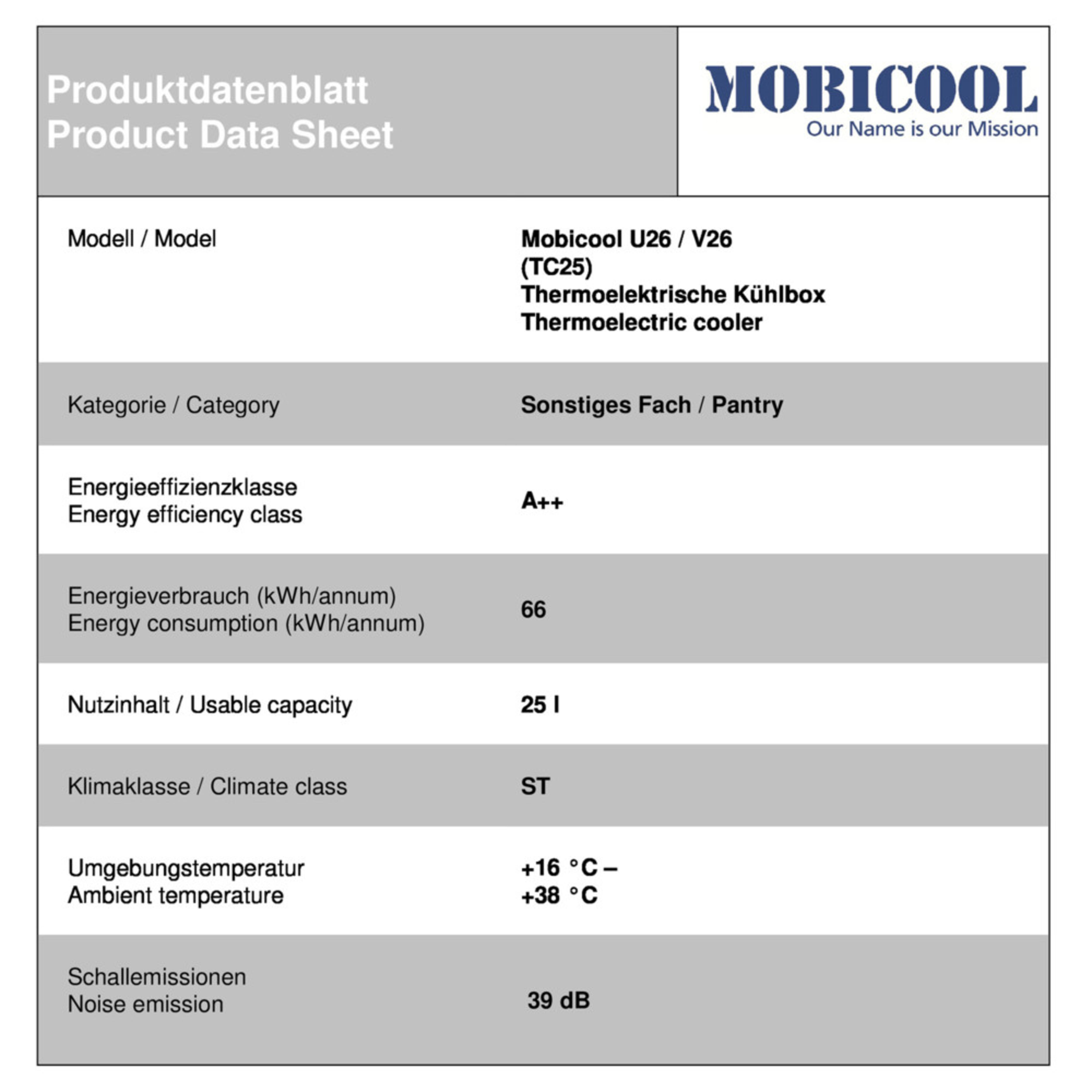 Mobicool V26 AC/DC Energy data sheet