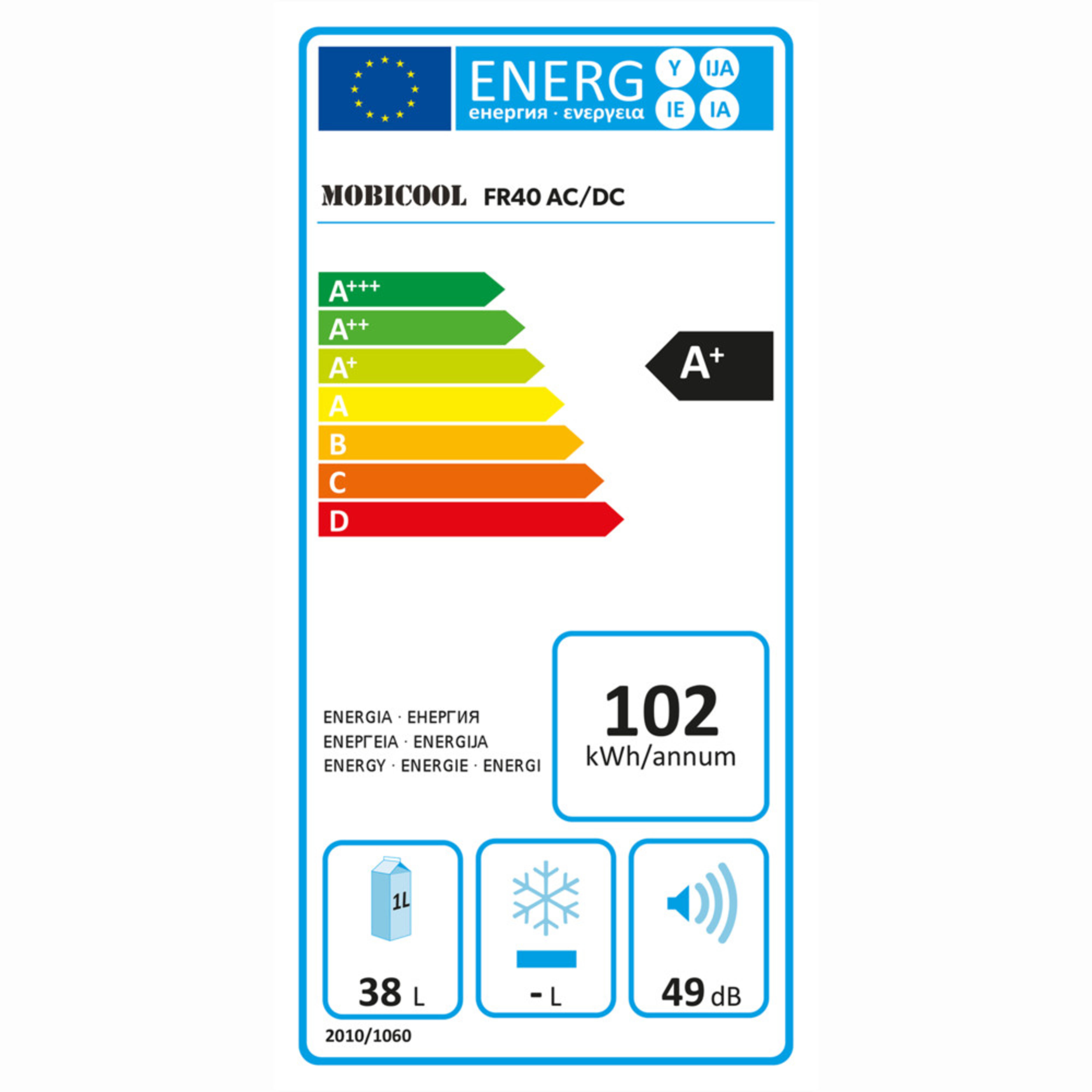 Mobicool FR40 Energy label