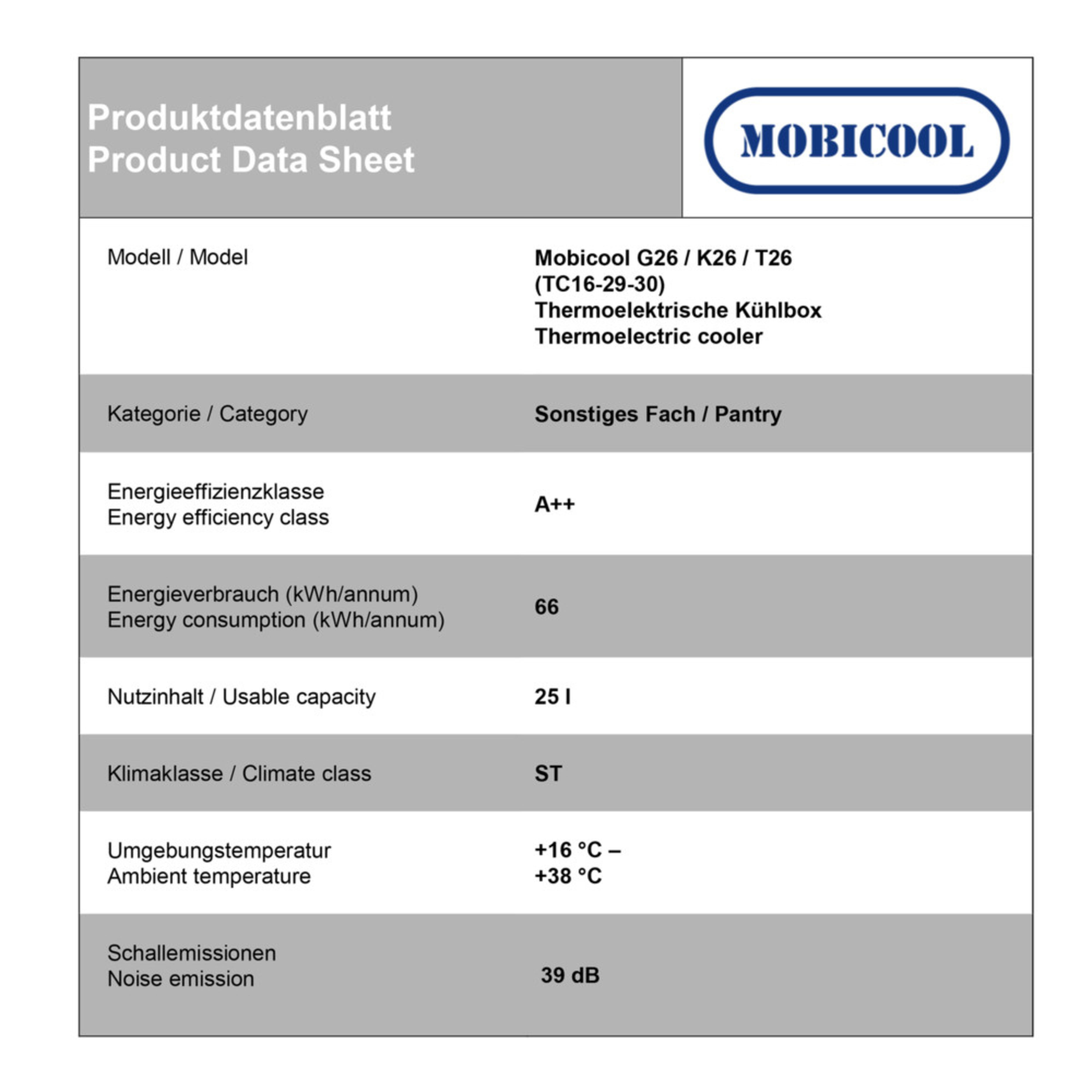 Mobicool T26 AC/DC Energy data sheet