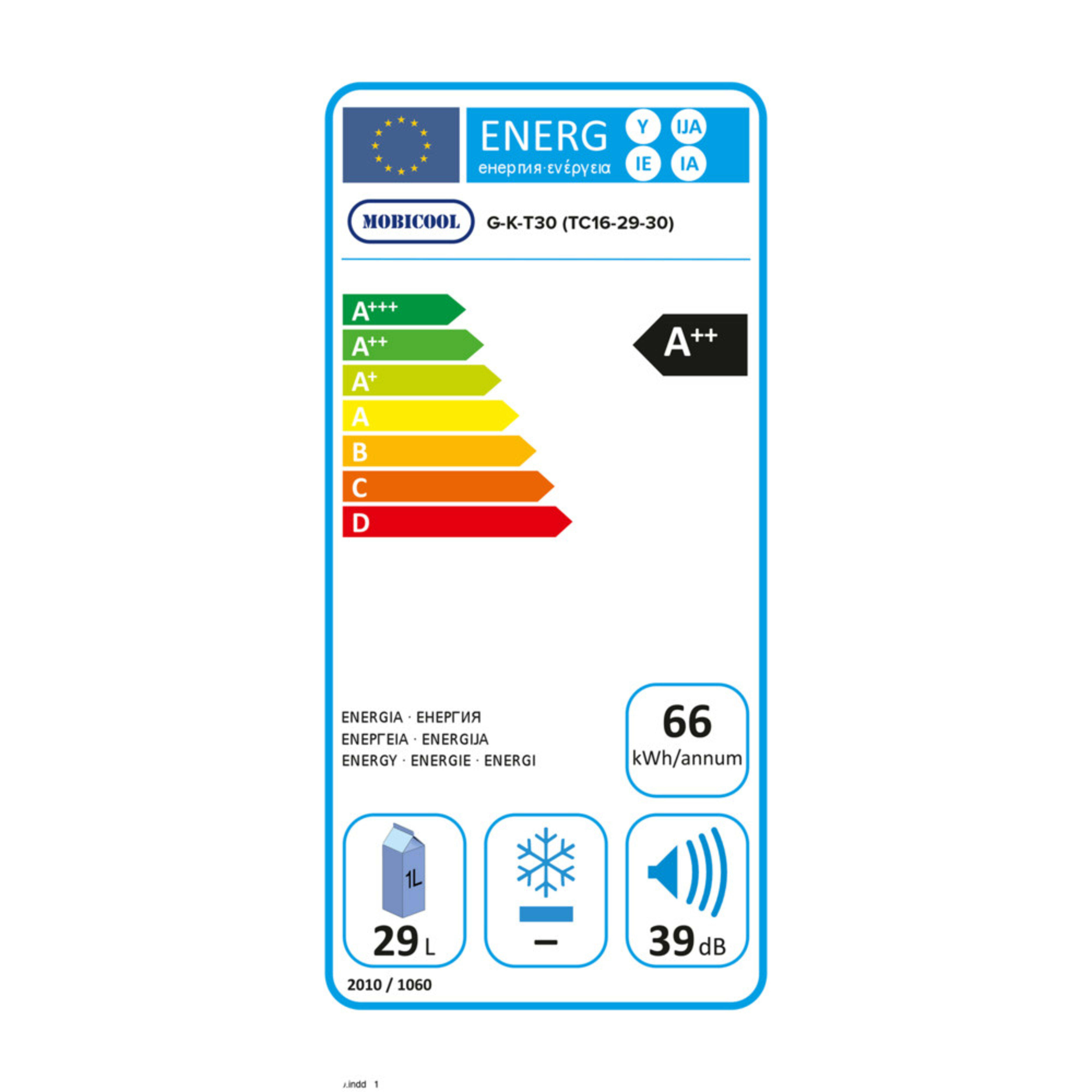 Mobicool G30 AC/DC Energy label