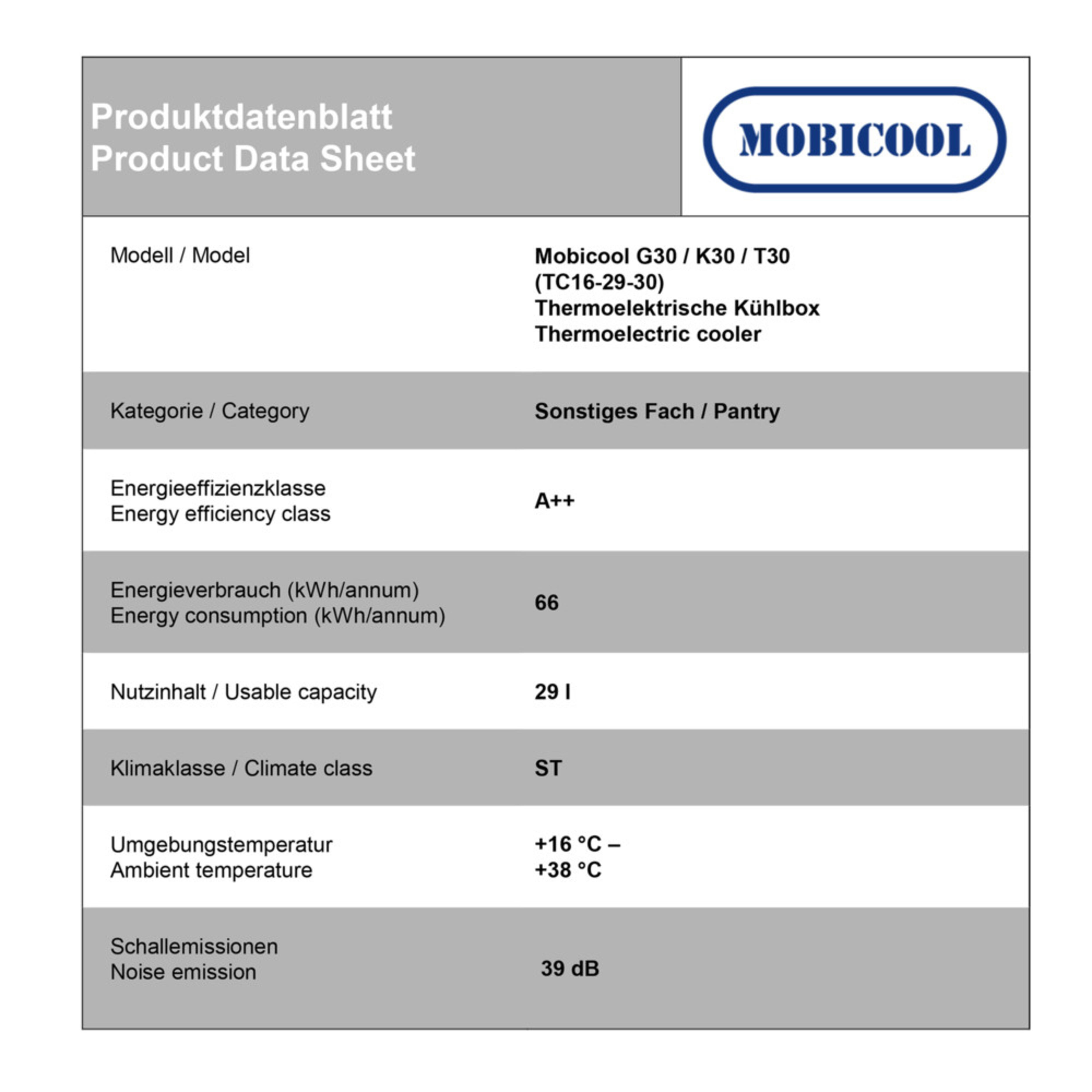 Mobicool T30 AC/DC Energy data sheet